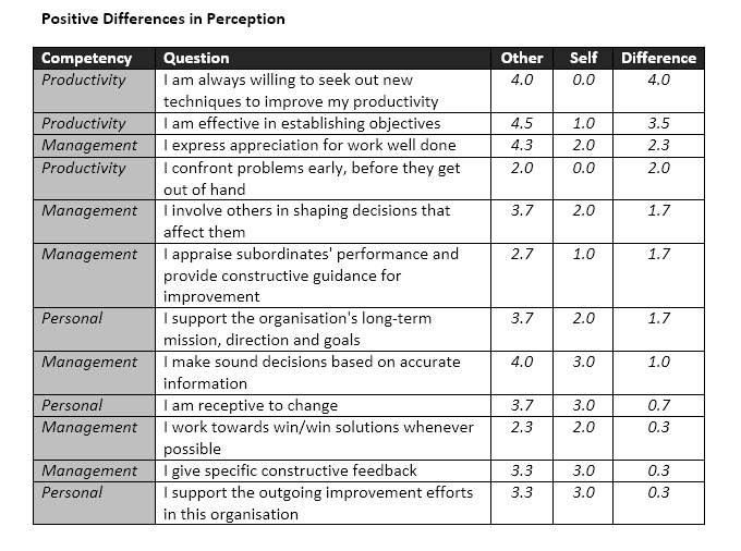 360 Report Perception table