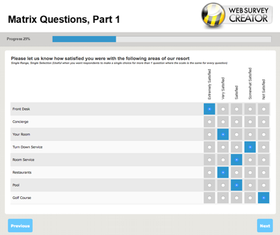 Standard Web Survey Question Types