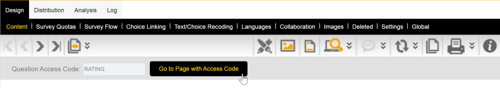 Access Code Menu