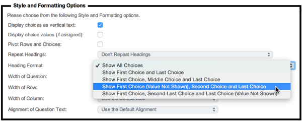 Choice Heading Formatting